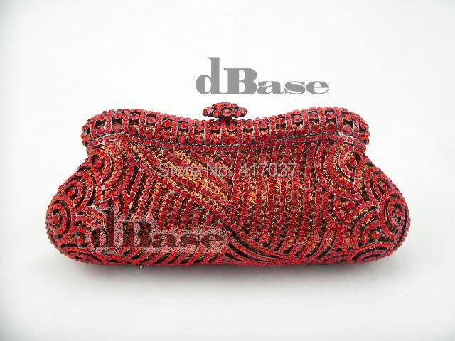 243R red Crystal Wedding Bridal Party Night hollow Metal Evening purse clutch bag case handbag<br><br>Aliexpress
