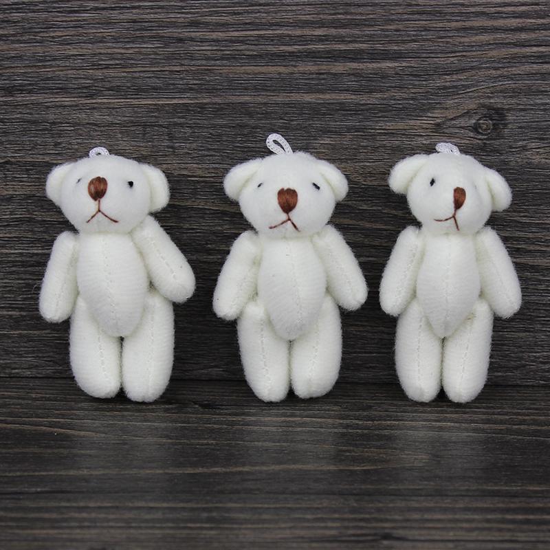 H-6cm cream white lovely Mini Stuffed Jointed Bear Gift Flower Packing Teddy Bears 100pcs/lot(China (Mainland))