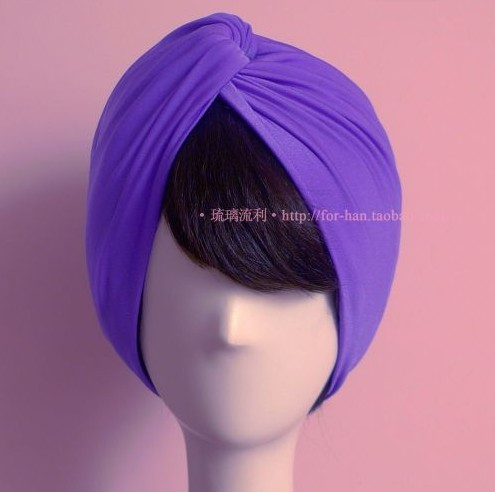 Europe Fashion Trend Women High Quality Elastic Silk Headbands Wide Style Purple Muslim Turban Bandanas wholesale(China (Mainland))