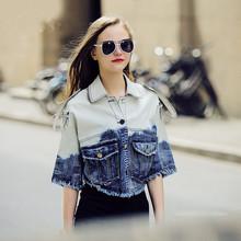 2015 New Gradient Thin Cotton Jean Jacket Ladies Sexy Short Denim Jacket Women Chaqueta Retro Mujer Casaco Tassels(China (Mainland))