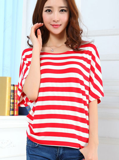 Summer new arrival 2013 all-match stripe t-shirt personalized batwing sleeve loose fashion t-shirt Women casual t-shirt