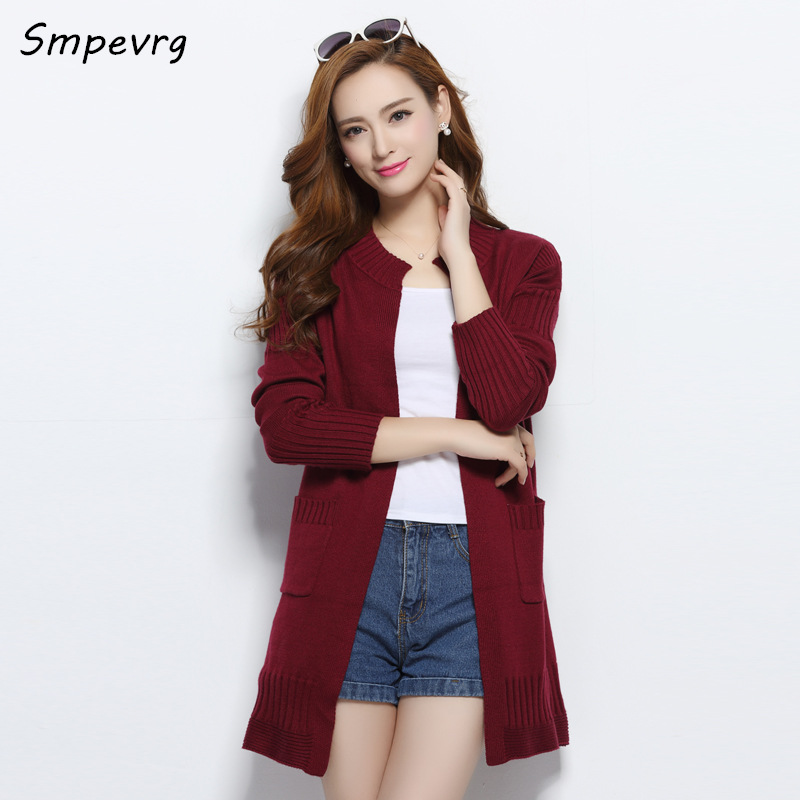smpevrg 2017 New Fashion Casual Loose soft cashmere Knit sweater ro-neck Lady Sweaters Thick long Coat Wool Women Cardigan Jacke(China (Mainland))