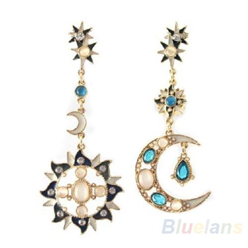 Гаджет  New Style Fashion Star Sun Moon Rhinestone Crystal Stud Dangle Pretty Earrings for women 08SU None Ювелирные изделия и часы
