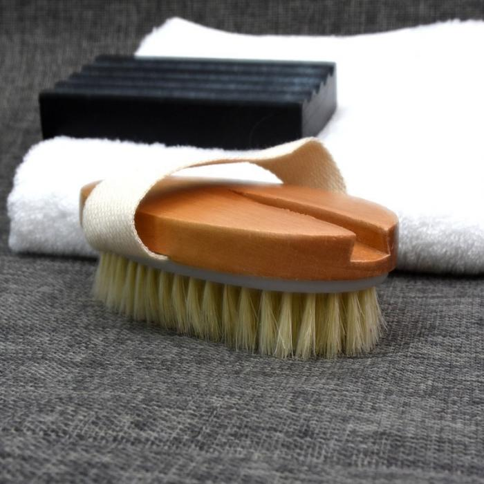 Natural Long Wooden Bristle Body Brush Massager Bath