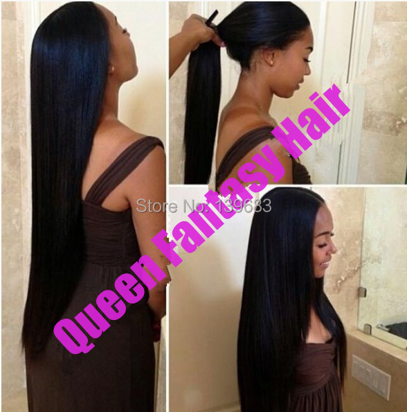 "Queen Hair Grade 6A 20""#1b unprocessed brazilian virgin silky straight lace front wig can be made ponytail free shipping(China (Mainland))"