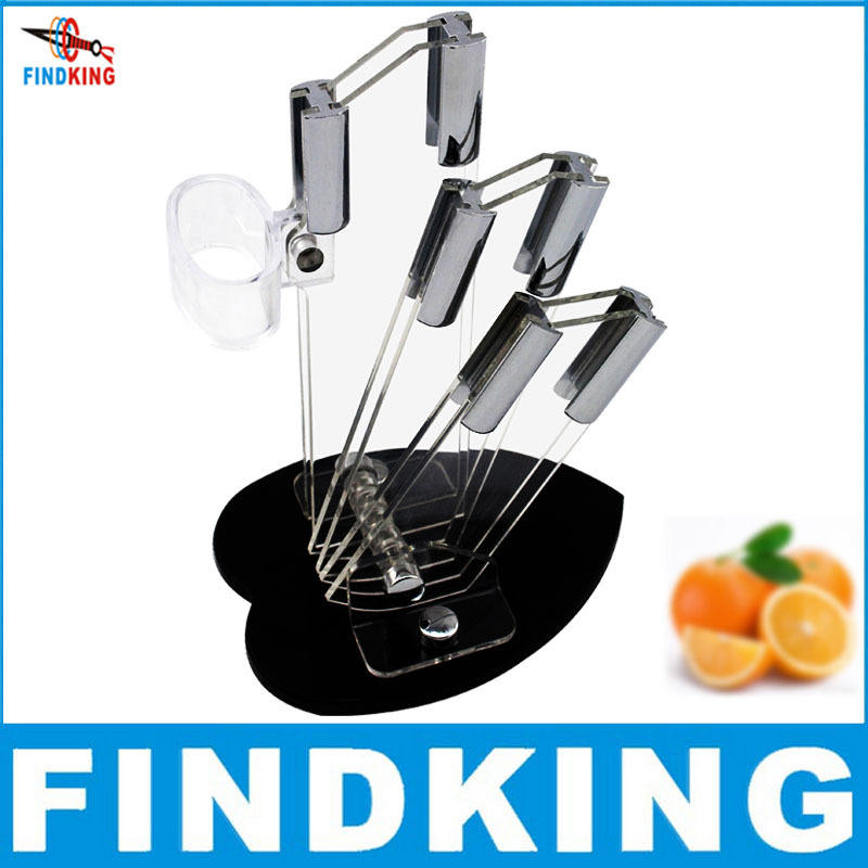 Beautiful heart shape acrylic kitchen ceramic knife holder, kitchen knife stand block for 3'' 4'' 5'' knives with one peeler(China (Mainland))