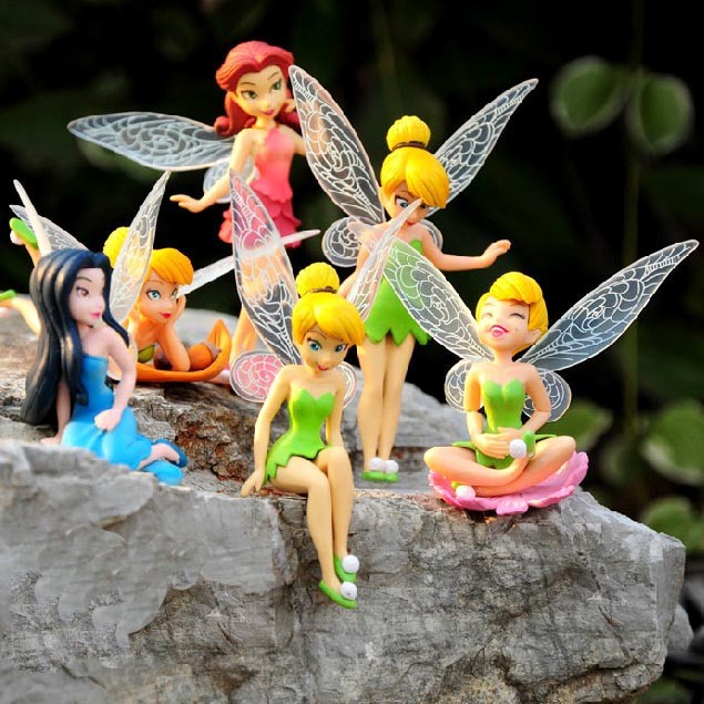 DHL 50set/lot Tinkerbell dolls Fairy Adorable tinker bell Mini toy flower pretty doll Action Figure brinquedo 6pcs/set(China (Mainland))