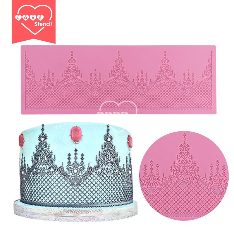 365mm*127mm Mould Lace Silicone Mat Christmas Wedding Cake Decoration Silicone Lace Mold Cake Mould Fondant Cake Tools LFM-26(China (Mainland))