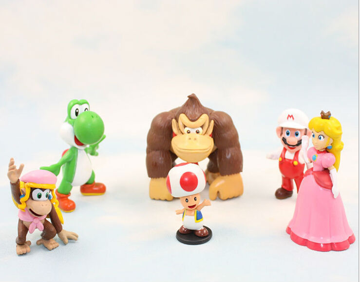 EMS 50Sets /300pcs Super Mario Bros Action Figures Toad/Yoshi/Mario/ Donkey Kong Sister PVC Toys For Christmas Gift 6pcs/set<br><br>Aliexpress