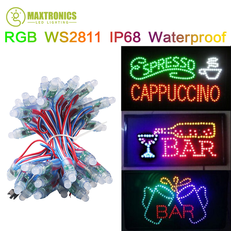 DC5V 12mm WS2811 led pixel module,IP68 waterproof full color RGB string christmas LED light Addressable as ucs1903 WS2801(China (Mainland))