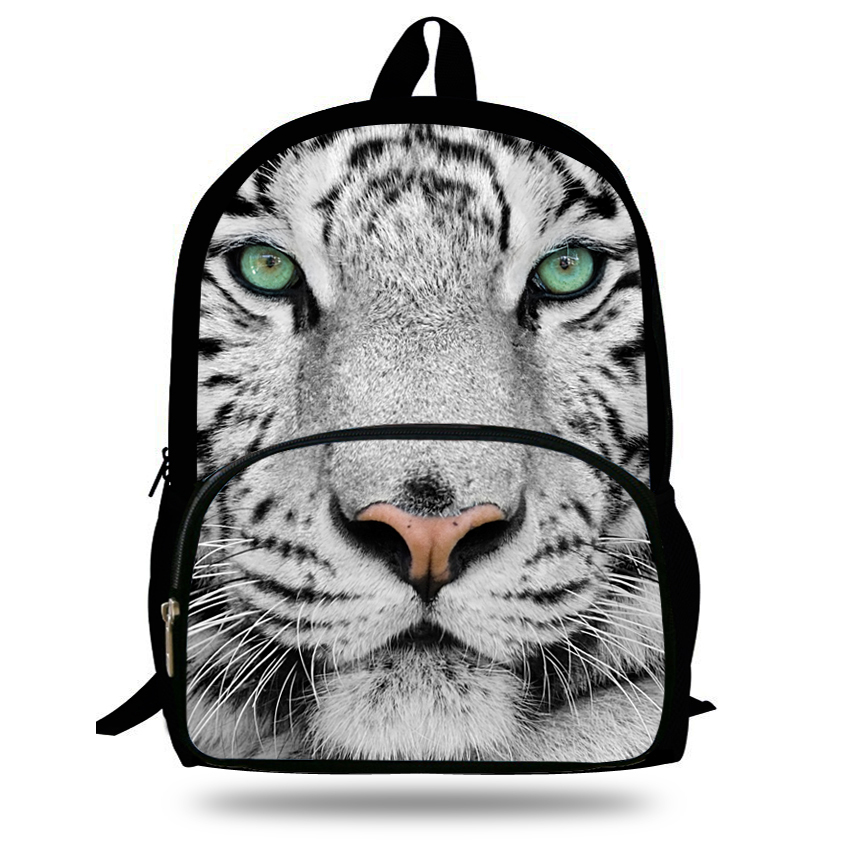 Fashion 16-inch White Tiger Head Backpack Children School Bags For Teenagers Boys Bag Kids Backpack Animal Prints Tiger Bag(China (Mainland))