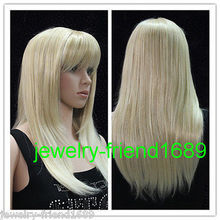 Wholesale& heat resistant LY free shipping>>>New wig Heat Resistant Pale Blonde Mixed Straight Medium Women's Wig