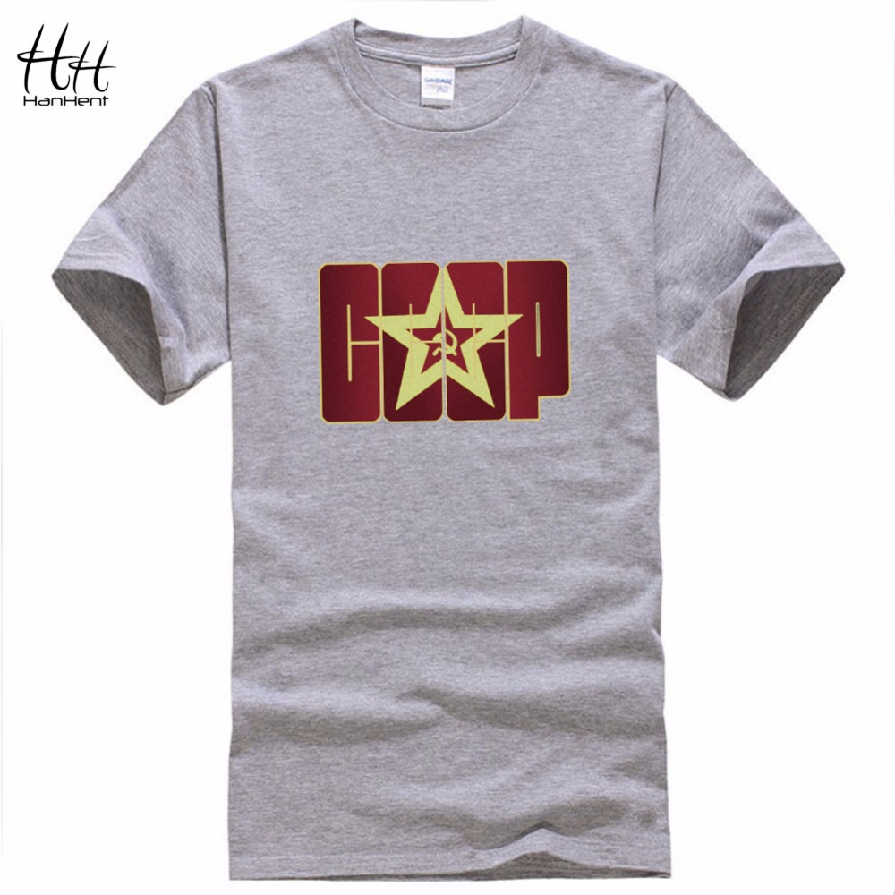 HanHent CCCP Letter Printed T shirts Men Summer Russian T-Shirt USSR Soviet Union Tshirt Cotton Russia Tee Shirts Sportsman Wear(China (Mainland))