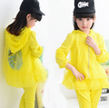 New Girls Clothing Sets Lace Flower Baby Kids Sun protective Clothes Suit Children Coat Pants Roupas