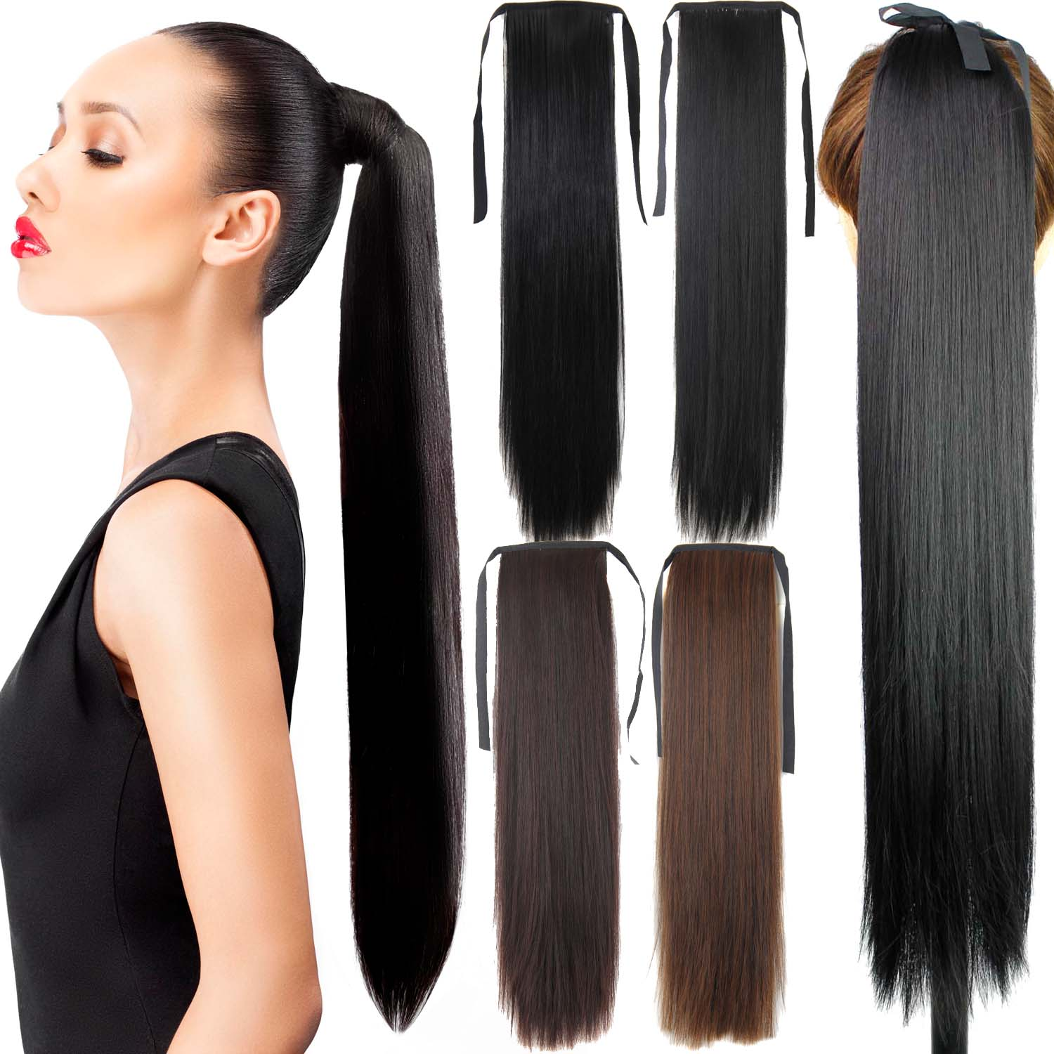 """Fake Hair Ponytail 105g 22""""Long Straight Hair Pieces Drawstring Ribbon Hairpiece Clip In Pony Tail Hair Extensions Multicolor(China (Mainland))"""