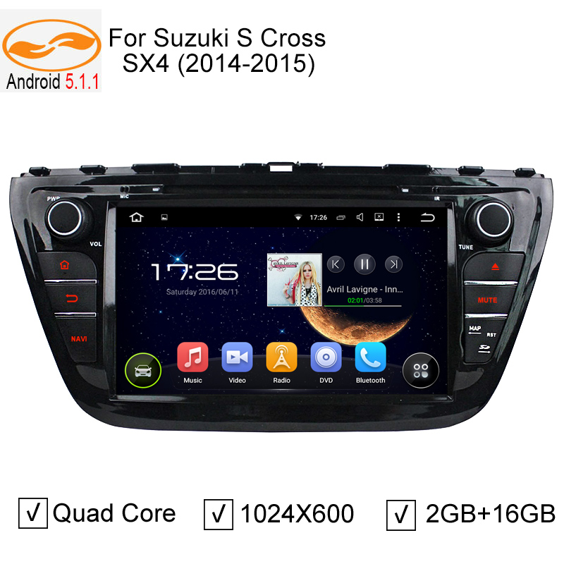 "8"" 1024*600 Android 5.1.1 Car DVD GPS Player for Suzuki SX4 S-cross 2014 2015 with Quad Core 1.6GHz CPU WIFI Audio Video Player(China (Mainland))"