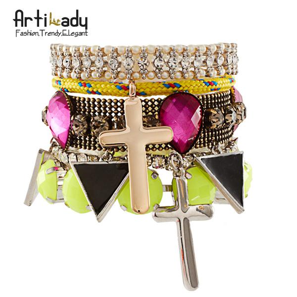 Artilady colorful neon cross stacking bracelets set 2014 new desgin wrap friendship bracelet jewelry