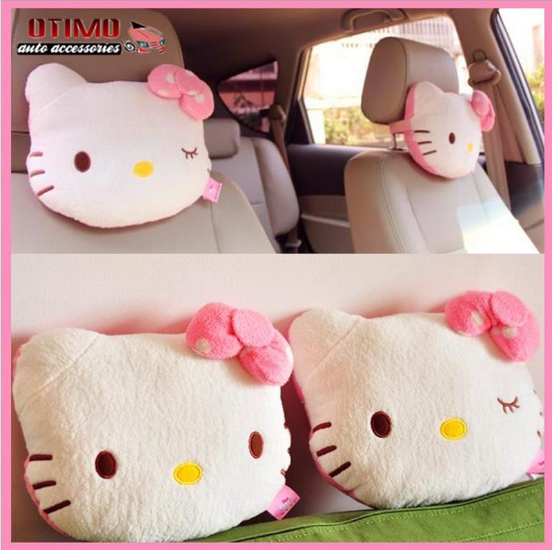 2pcs pink hello kitty car pillow baby car headrest neck pillow cartoon plush kids child car. Black Bedroom Furniture Sets. Home Design Ideas