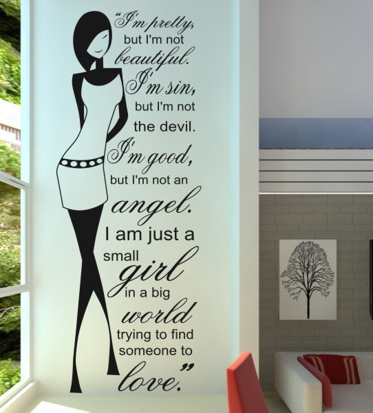 New girls removable vinyl wall stickers home decor living room diy art mural decal quote wall sticker for decoration(China (Mainland))