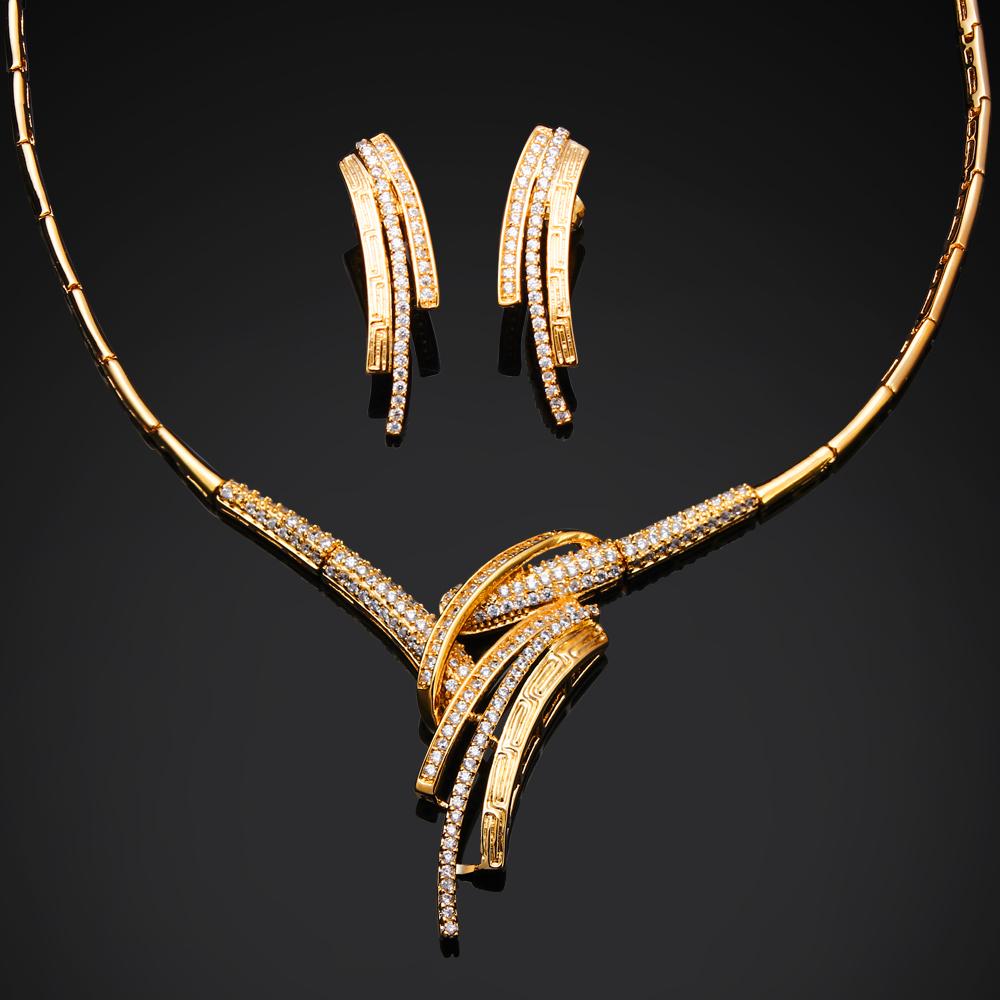 New Women wedding Jewelry Sets gold plated w/ CZ stone luxury 2pcs jewelry sets ( necklace + earring ) Free shipment(China (Mainland))