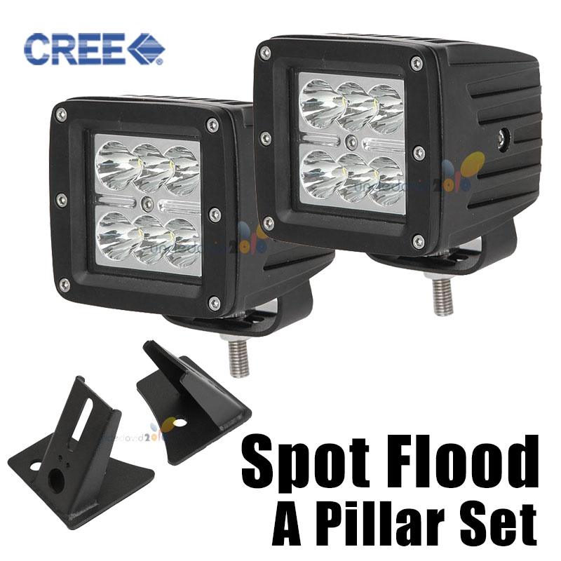 2x A Pillar 18w 4 Inch Square LED Work Light Bar Flood Spot Offroad Cree LED Driving Light with Mount For Jeep Wrangler JK 07-15<br><br>Aliexpress