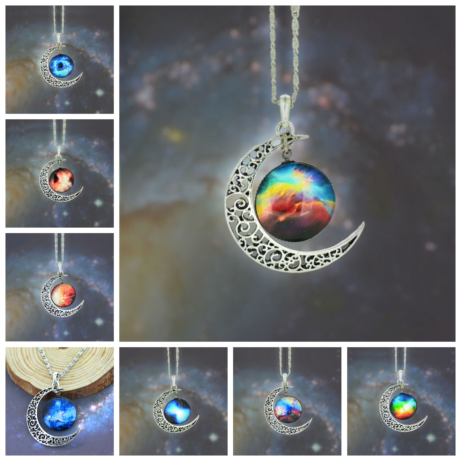 Moon Star Time Artificial Synthetic Gemstone Necklace World Warcraft Obsidian Vintage Wicca Crystal Pendant Chain Punk Necklaces(China (Mainland))