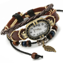 New Top Genuine Leather Bracelet Watch Women Charm Leaf Butterfly Ethnic Geneva Style Urban Girl Fashion Para Dama(China (Mainland))