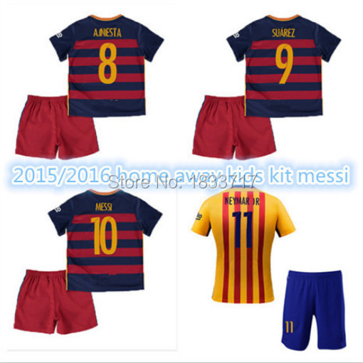 Top Thai Quality 15 16 La Liga red and yellow KIDS Soccer Jersey,boys La Liga ss JR LUIS 2015 2016 Football children(China (Mainland))