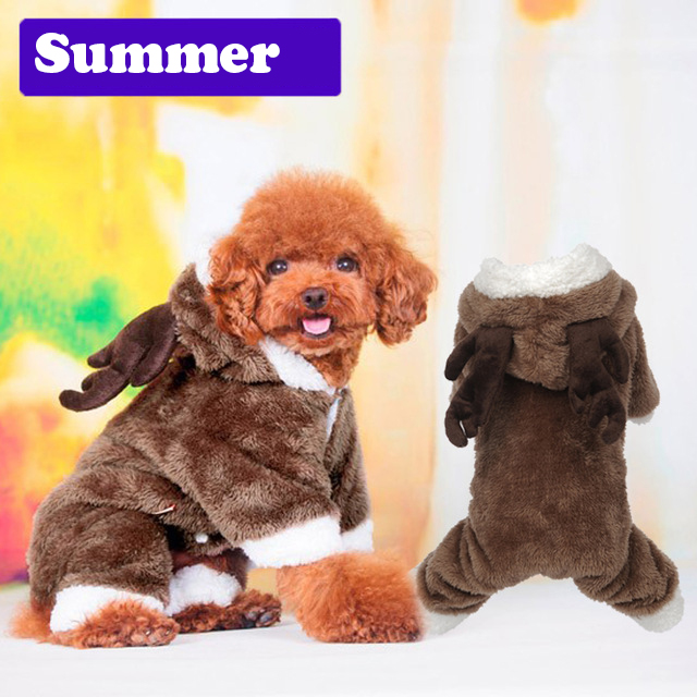 lovely winter dog pet warm coat small dog Christmas clothes jacket Fleece pet elk cosplsy costume Coat Jumpsuit jumpers Hoodie(China (Mainland))