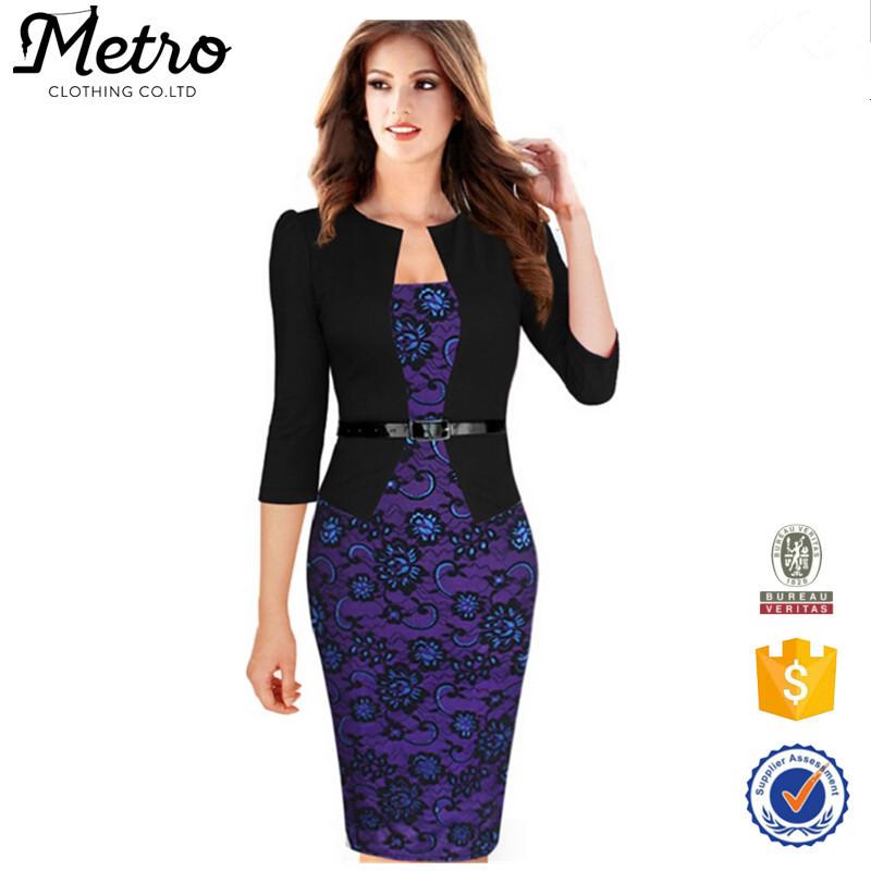 Plus Size Women Elegant Faux Twinset Belted font b Tartan b font Floral Lace Patchwork Wear