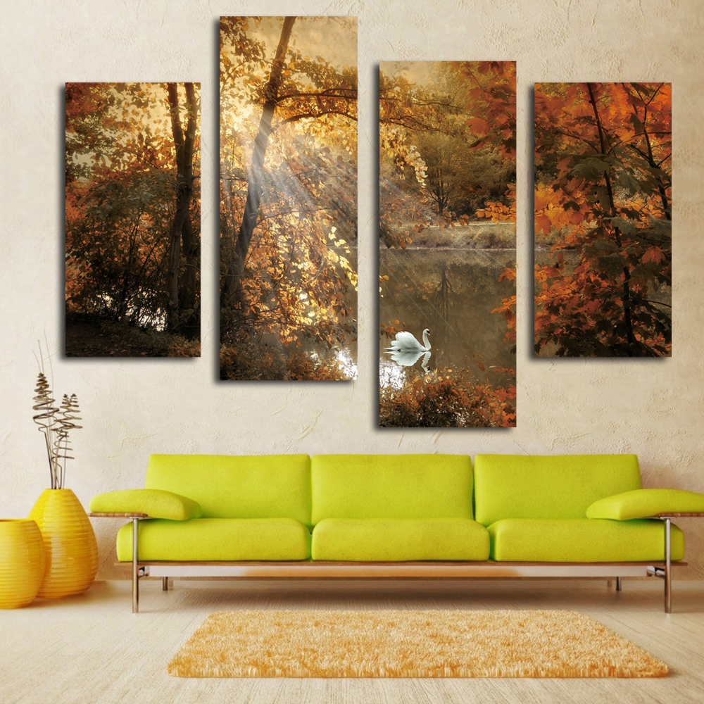 Nice white swan painting fairy multi panel canvas wall art landscape picture on living room(China (Mainland))