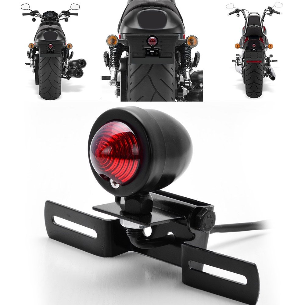 Black 12V Motorcycle Tail Brake Light Red lens With License Plate Holder For Harley Bobber Cafe Racer<br><br>Aliexpress
