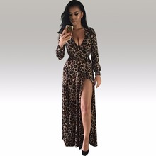 Buy Womens Sexy Deep V Neck Low Cut Slit Leopard Print Casual Prom Party Long Dress Long Sleeve Elegant Evening Maxi Dress KF917 for $16.44 in AliExpress store