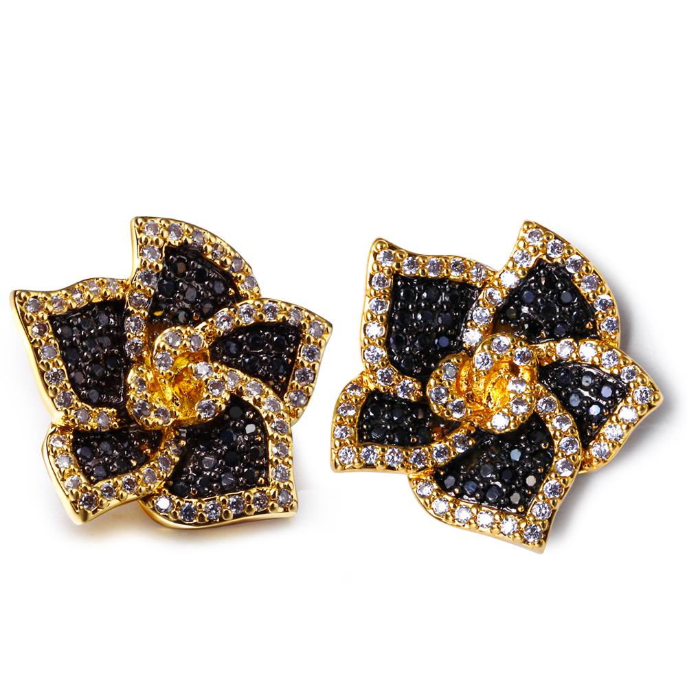 Flower stud earrings flower stud earrings Designer jewelry post earring with AAA cubic zirconia Rhodum plate(China (Mainland))