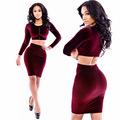 Women Sexy 2 piece Bandage Cropped Dress New Fashion 2016 Slim Bodycon Corduroy Wine Red Club