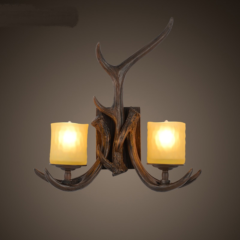 personality Vintage American country industrial wind Nordic landscape garden bar restaurant garden wall double wall antlers ZA