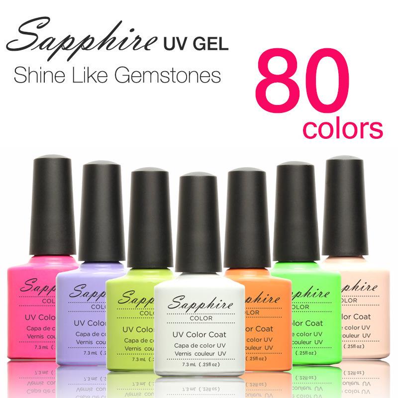 Sapphire Brand Good Qulity Nail Gel Polish UV/LED Gel Colorful 7.3ml Long asting soak off Varnish, Base/Top Coat Cheap Manicure(China (Mainland))