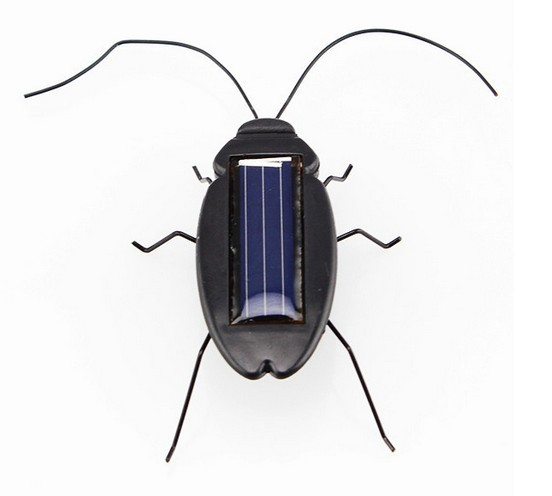 Solar Power Energy Cockroach 6 Legs Black Children Insect Bug Teaching Fun Gadget Toy Gift New(China (Mainland))