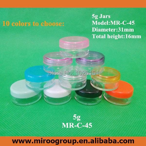In Stock FreeShip 50PCS 5ml 5g plastic PS cosmetic jars plastic bottles round cosmetics cream empty