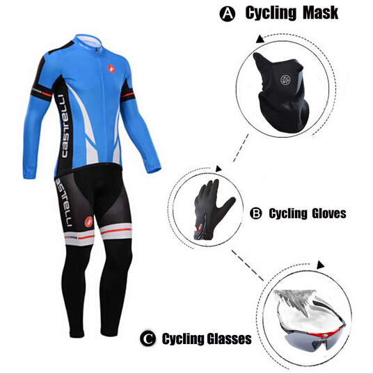 Spring Pro Team Cycling Bike Jerseys Ropa Ciclismo/GEL Pad Bicycle Sports Bib Pants+Full Finger Gloves+Fleece Mask+UV Glasses(China (Mainland))