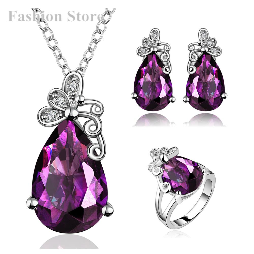 Elegant Extravagant Party Jewelry Set Big Purple Crystal Pendant Necklace/Earrings/Finger Ring Bridal FVRS004 - Fashion Jewels for Women store