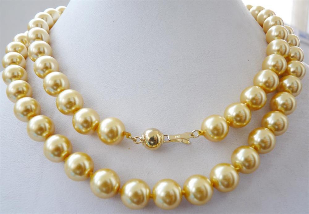 """10mm yellow South sea shell pearl necklace 34"""" 14K gold A+SA(China (Mainland))"""