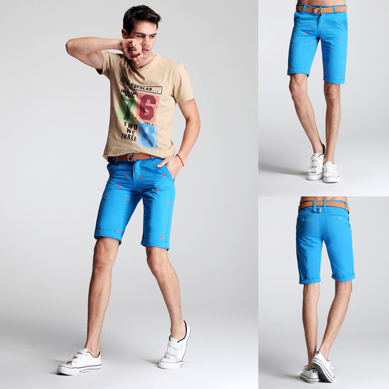 Plus Size Summer Hot Fashion Solid Color Animal Embroidery Size 28 To 44 Outdoor Men Shorts 044