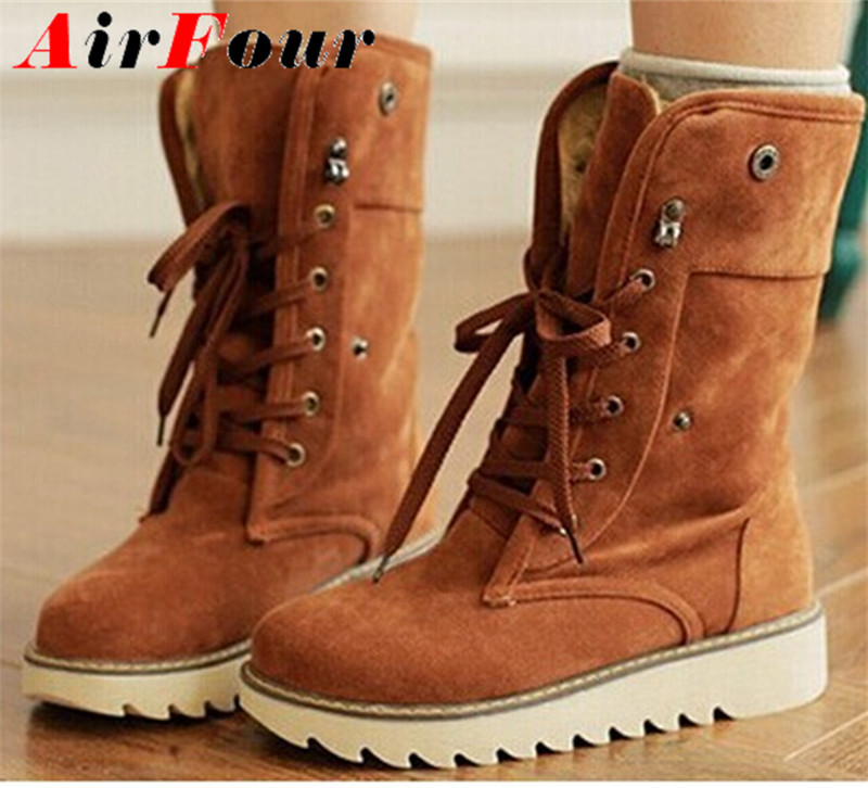 ENMAYER Women winter boots short snow boots thick cotton-padded solid color casual flat heel lace-up shoes large plus size 34-43<br><br>Aliexpress