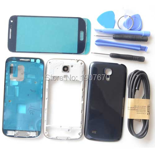 S4 mini Original Full Housing Cover Middle Frame Screen Glass Replacement for Samsung Galaxy i9190 i9195 full housing+USB Cable(China (Mainland))