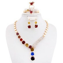 Fashion New African Gold Plated Multicolor Rhinestone Necklace Set Crystal Costume Zircon Jewelry Sets Woman Bridal Party Gift(China (Mainland))