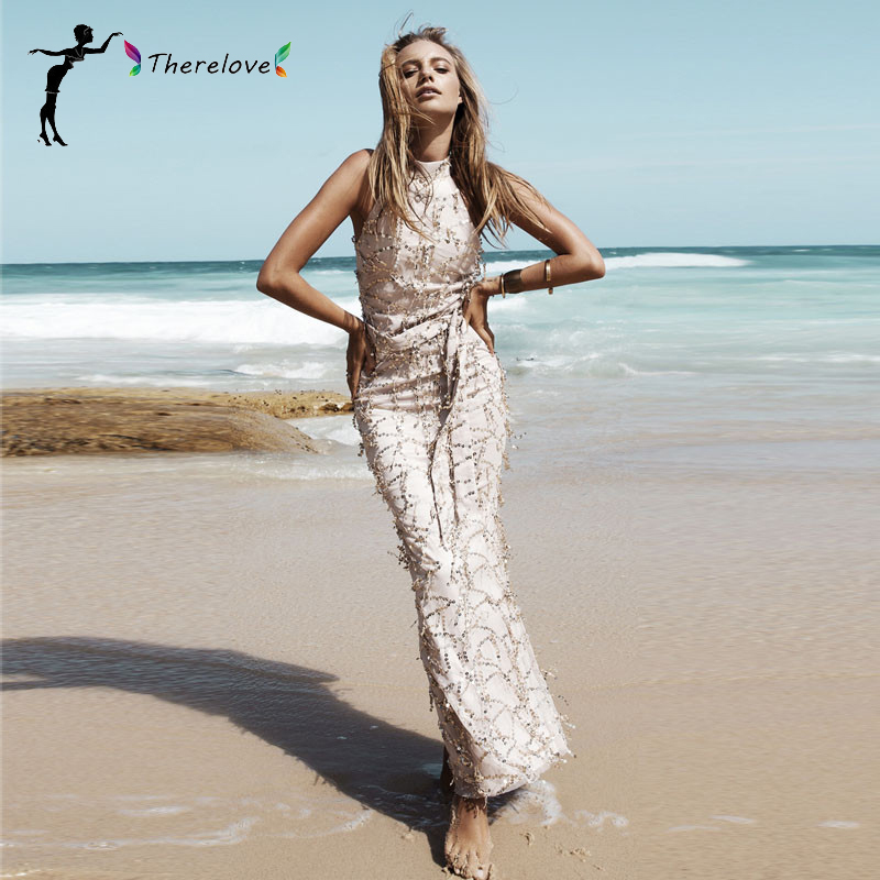 NEW 2016 Sexy Lady signer elegent gown sequined Turtle neck bodycon High Waist maxi dressParty club dress(China (Mainland))