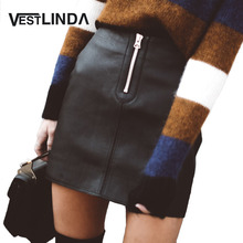 Buy VESTLINDA Sexy Black Zipper Short Skirt Women High waist PU Leather Pencil Mini Skirt Ladies Vintage Retro Office Casual Skirts for $7.63 in AliExpress store