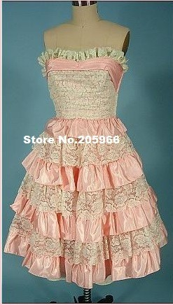 Free Shipping Sleeveless Pink Princess Sweetheart Ruffles Lolita Day Dress/Vintage Costume(China (Mainland))