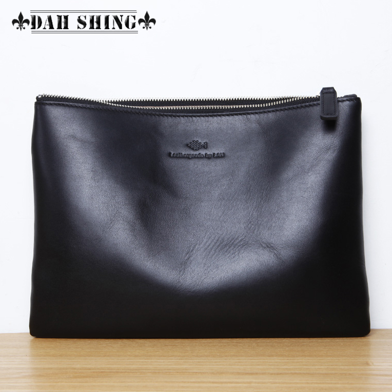 Simple style 3 solid colors soft 100% genuine leather day envelope clutch mens handbag zipper closure 35*25cm iPad bag<br><br>Aliexpress